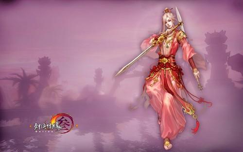 古代舞剑女子手绘