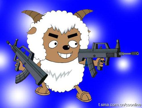 卡通人物的图片,一张是流氓兔,另一张是《喜羊羊与灰太狼》中的沸羊羊