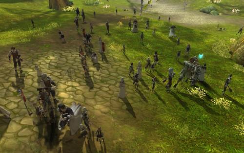 永恒之塔2.0开测,新手村拥挤的人群