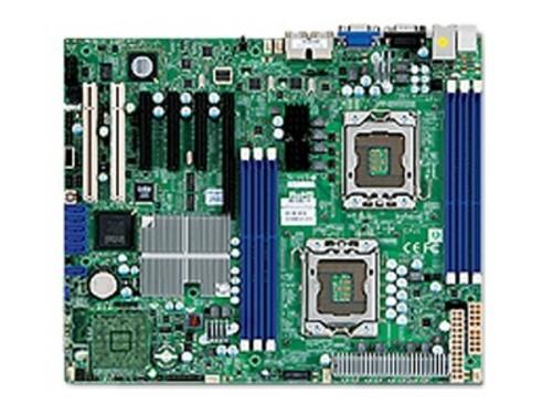 """磁盘支持,包括支持SAS、SATA硬盘,提供8个SAS/SATA接口;提供6个SATA接口,支持SATA3.0Gbps控制器,支持RAID0,1,5,10(Windows)或者RAID0,1,10(Linux)。主板为ATX大板型,大小为12""""X10""""(30.5cmx25.4cm);适合1U及以上机箱;双Intel82574L千兆网卡,集成xG200eW显卡控制器,提供VGA接口;最小需要550WATX电源供电,机箱有冗余电源设计,可选配更多电源以提升可靠性能。 超微 X8DTL-iF+8Gx2内存"""