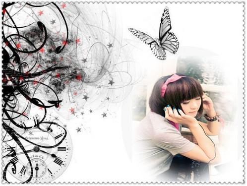 手绘动漫美女花环 壁纸