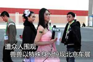 遭众人围观 兽兽以特殊身份惊现北京车展