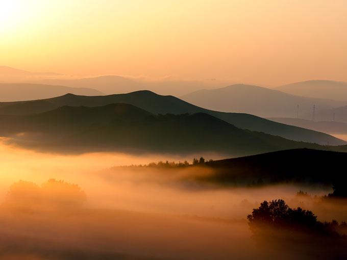 晚霞风景美女图片