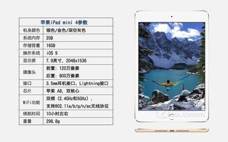 苹果 iPad mini 4金色 参数图